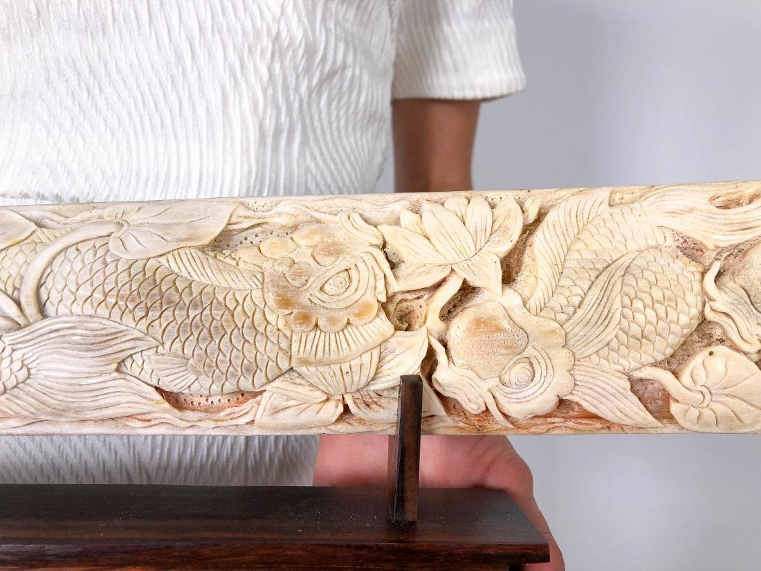 Stunning swordfish tusk with hand engraved Japanese koi - 6