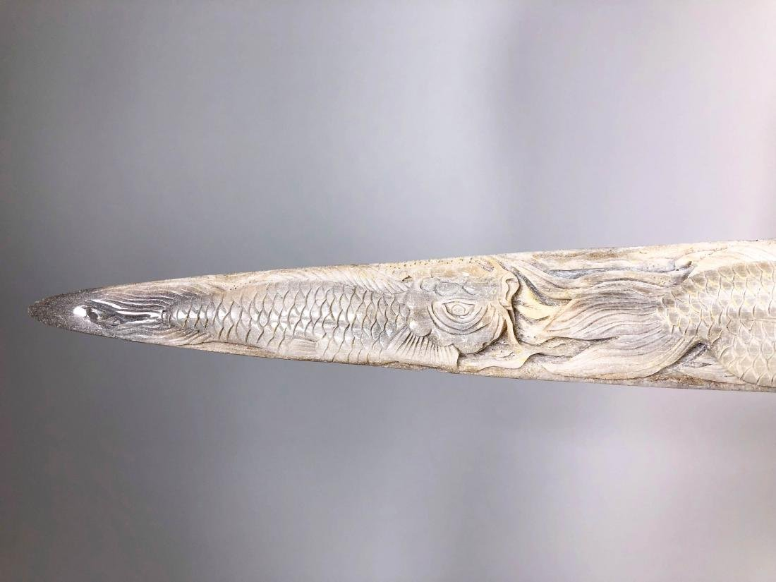 Stunning swordfish tusk with hand engraved Japanese koi - 8