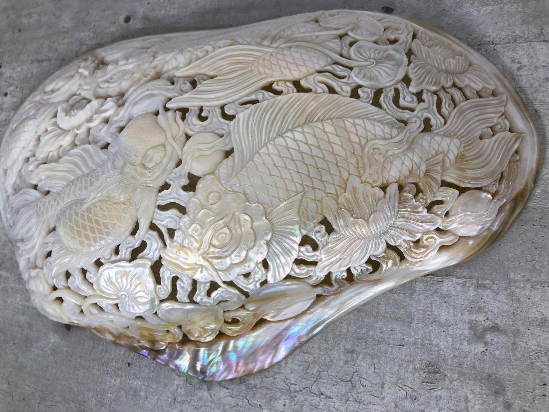 Giant engraved mother of pearl shell - Japanese KOI - 6
