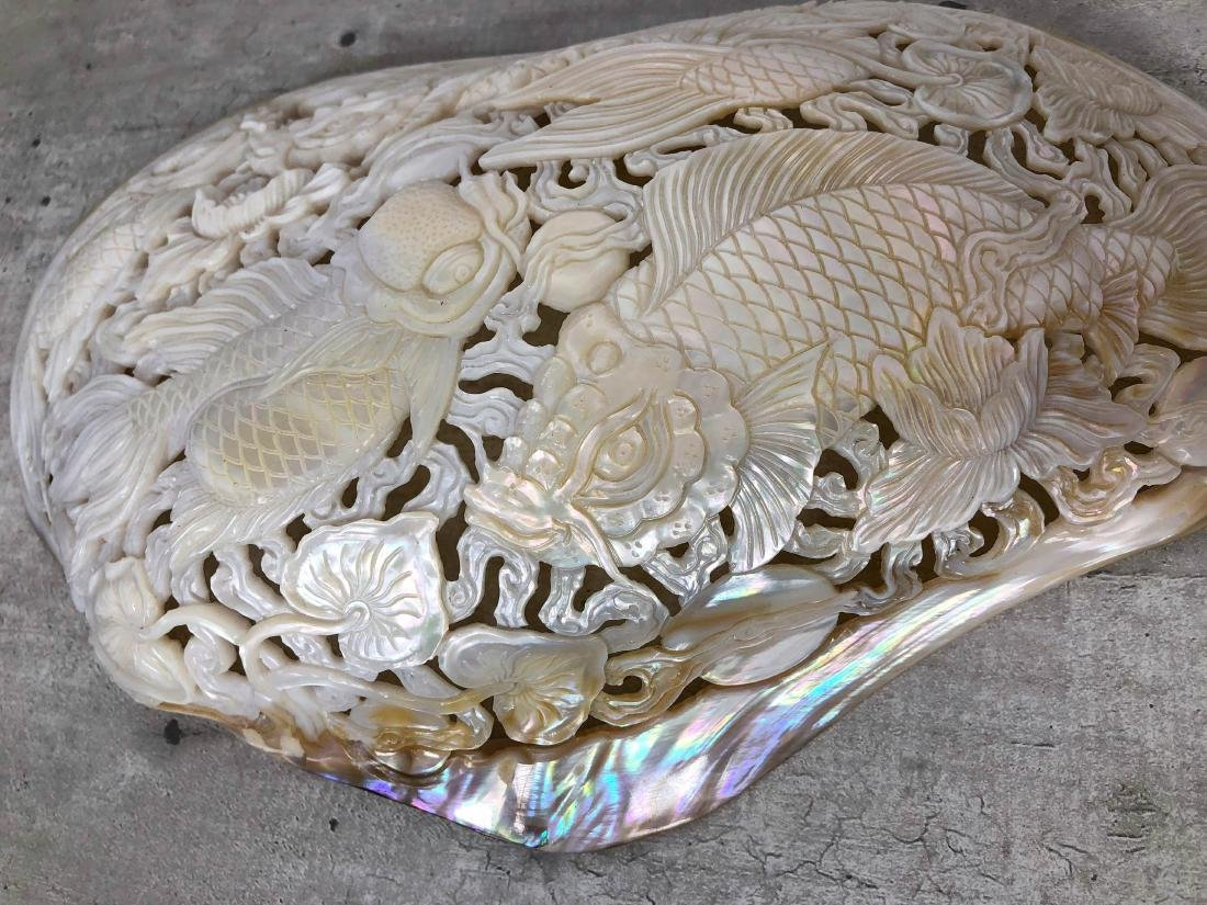 Giant engraved mother of pearl shell - Japanese KOI - 8