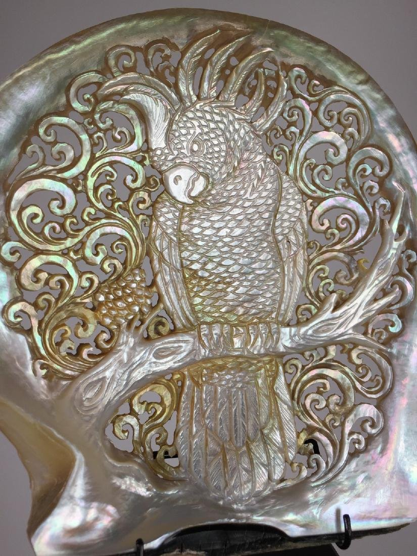 Large gorgeously hand carved mother of pearl shell with - 2