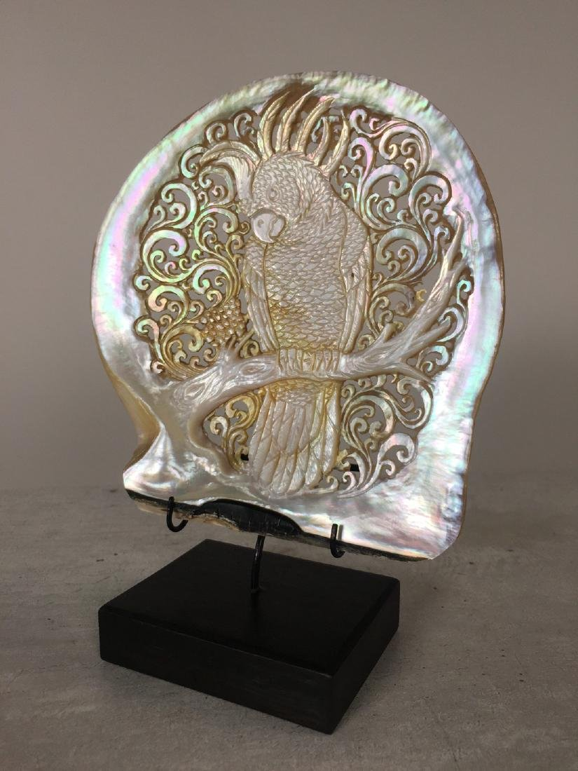 Large gorgeously hand carved mother of pearl shell with - 6