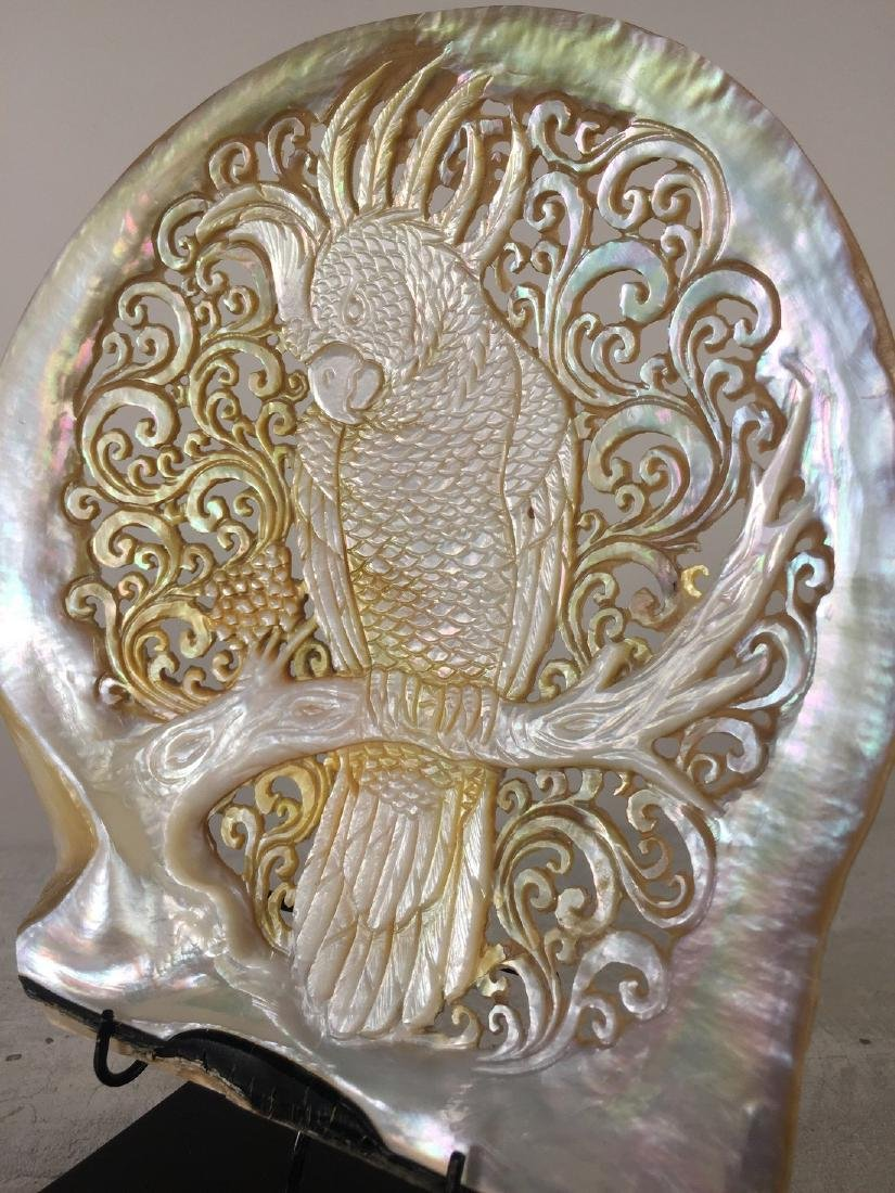 Large gorgeously hand carved mother of pearl shell with - 7