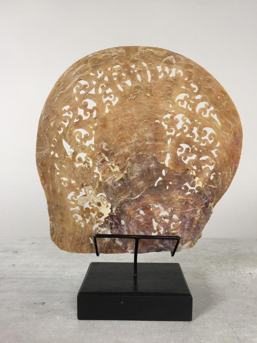 Large gorgeously hand carved mother of pearl shell with - 8