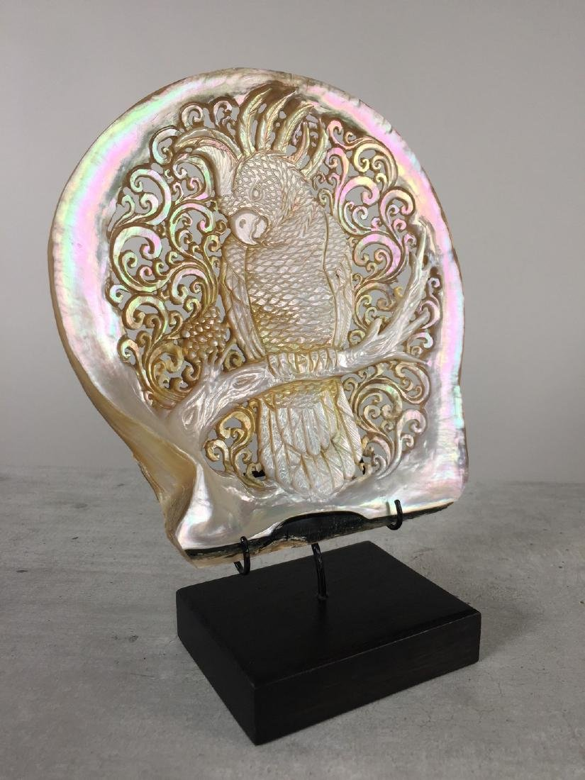 Large gorgeously hand carved mother of pearl shell with - 9
