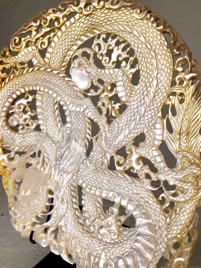 Intricately carved Mother of Pearl Shell with Dragon - 2