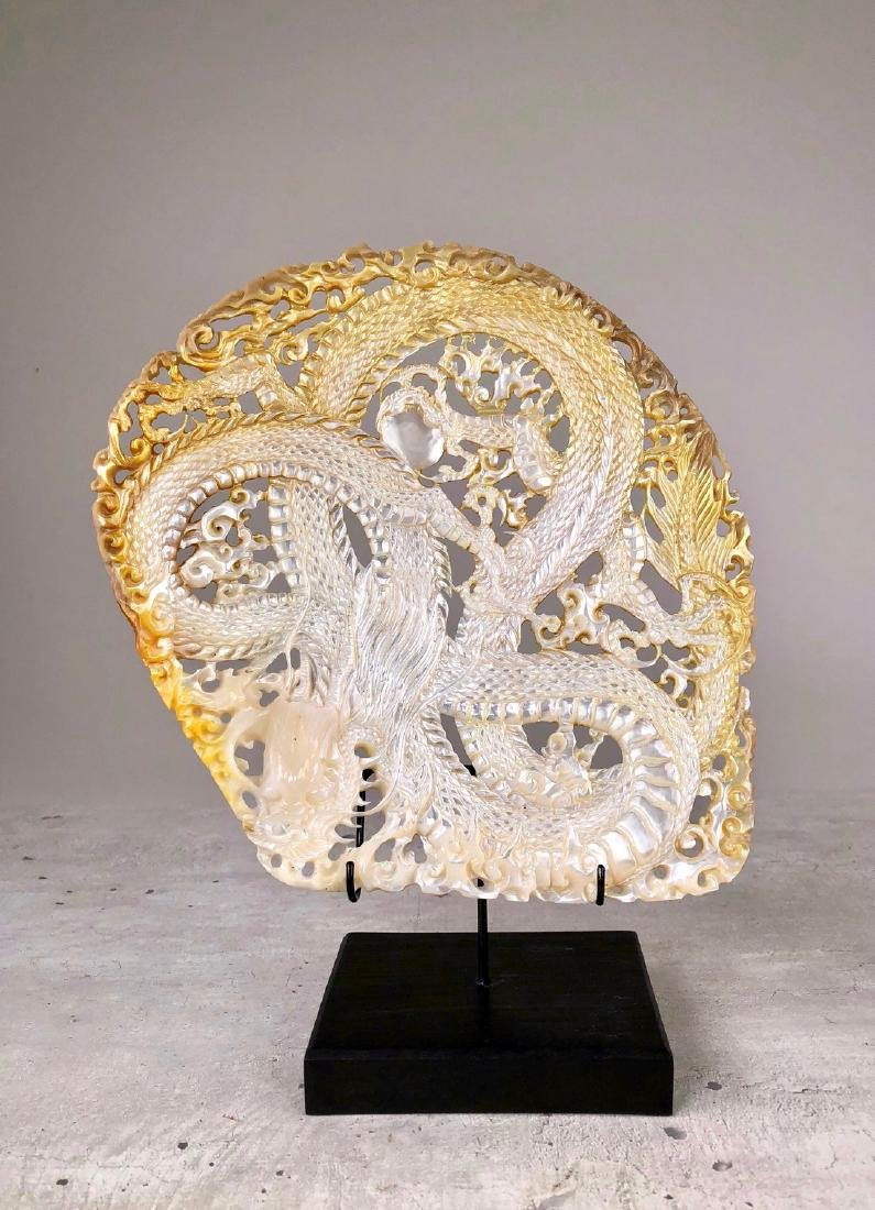 Intricately carved Mother of Pearl Shell with Dragon - 3