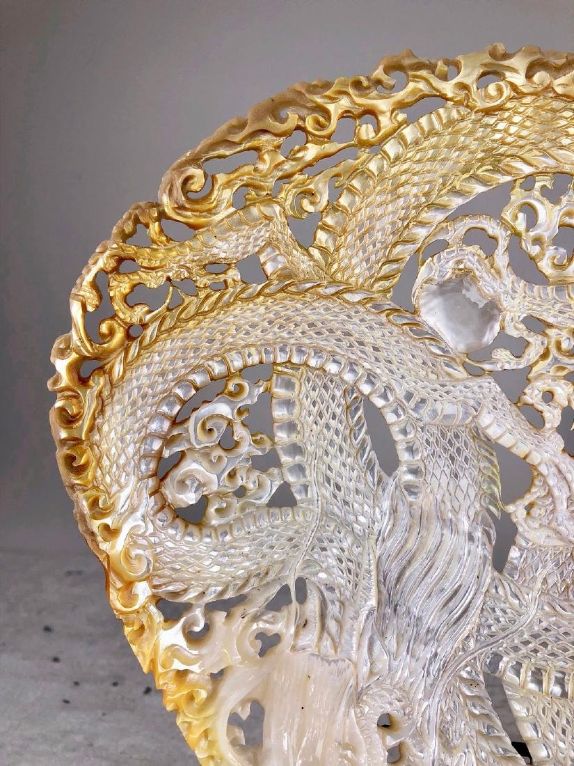 Intricately carved Mother of Pearl Shell with Dragon - 4