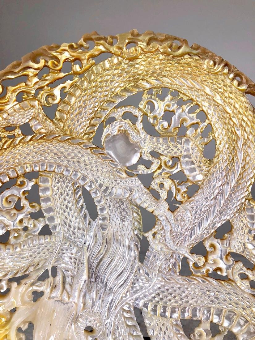 Intricately carved Mother of Pearl Shell with Dragon - 5