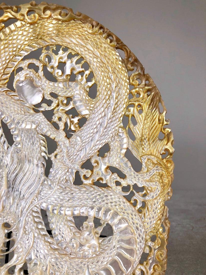 Intricately carved Mother of Pearl Shell with Dragon - 6