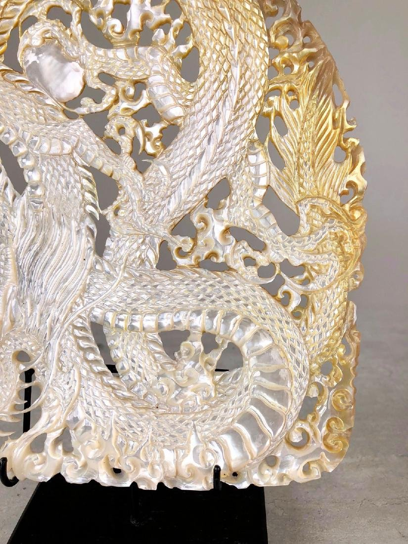 Intricately carved Mother of Pearl Shell with Dragon - 7