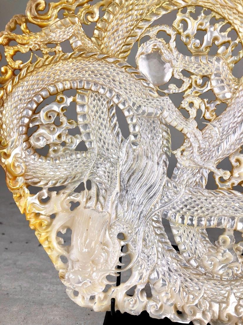 Intricately carved Mother of Pearl Shell with Dragon - 8