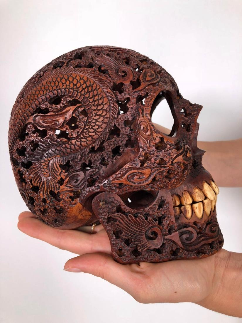Hand carved Human skull - Japanese Dragon carving - 10