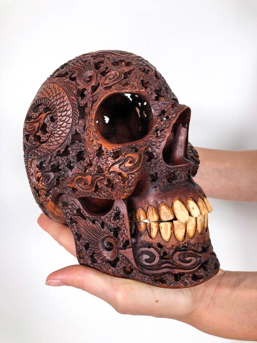 Hand carved Human skull - Japanese Dragon carving
