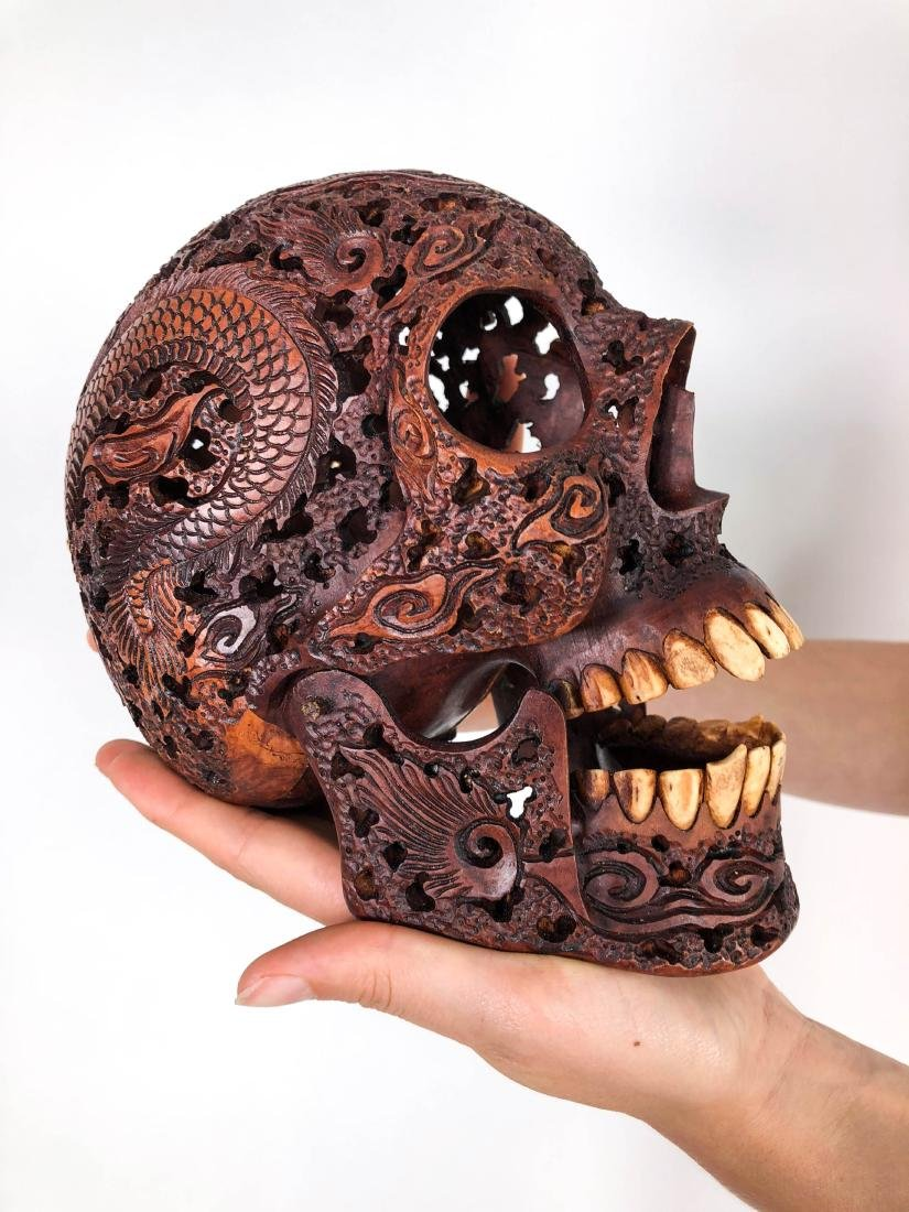 Hand carved Human skull - Japanese Dragon carving - 2