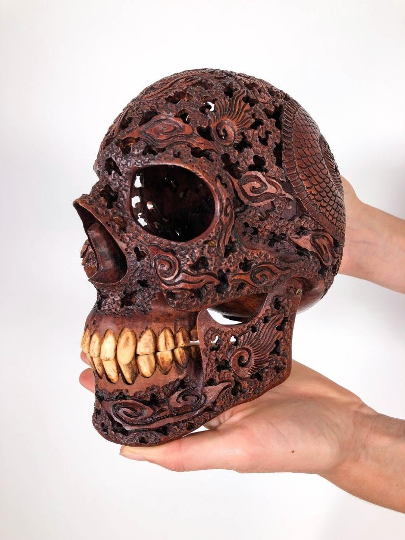 Hand carved Human skull - Japanese Dragon carving - 4