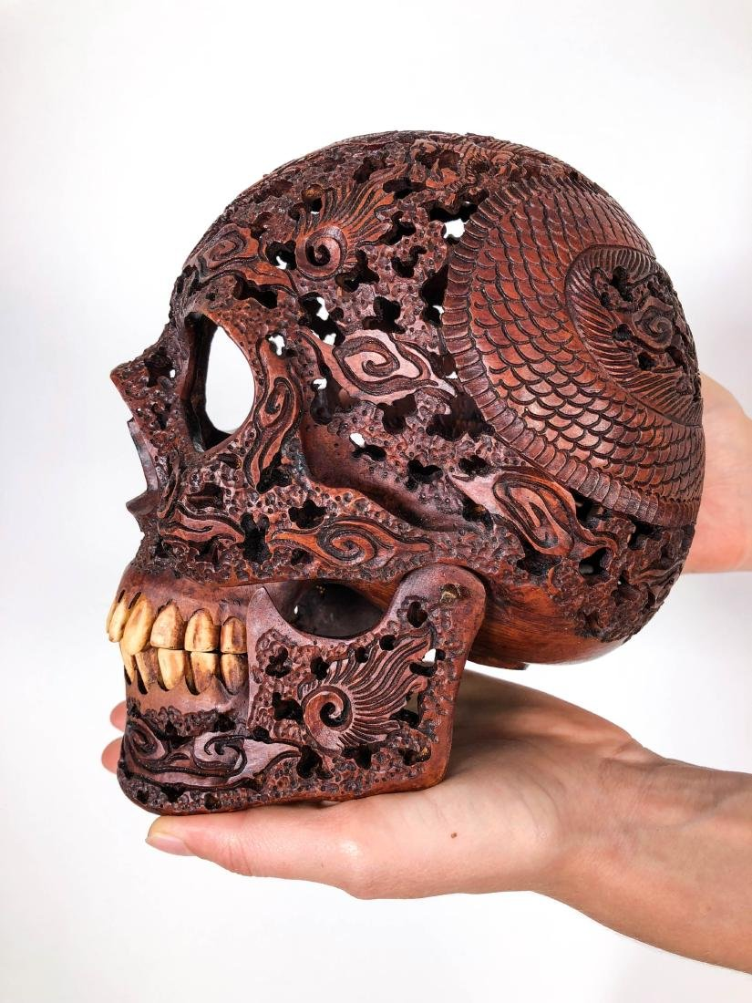Hand carved Human skull - Japanese Dragon carving - 5