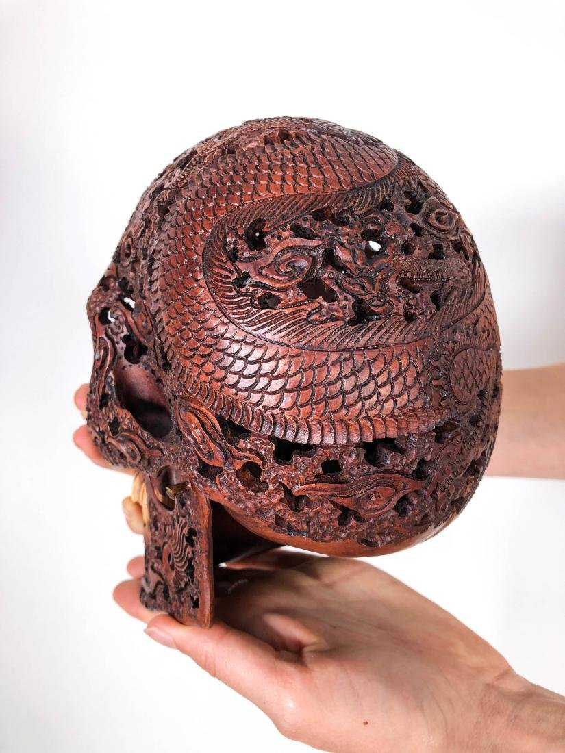 Hand carved Human skull - Japanese Dragon carving - 6