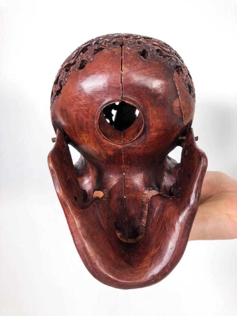 Hand carved Human skull - Japanese Dragon carving - 8