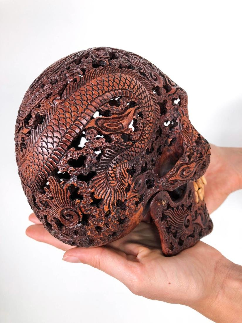 Hand carved Human skull - Japanese Dragon carving - 9