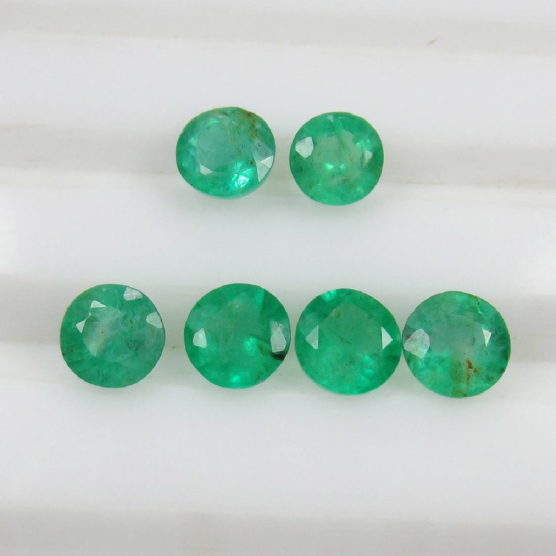 2.28 Ct Genuine 6 Loose Zambian Emerald Round Lot