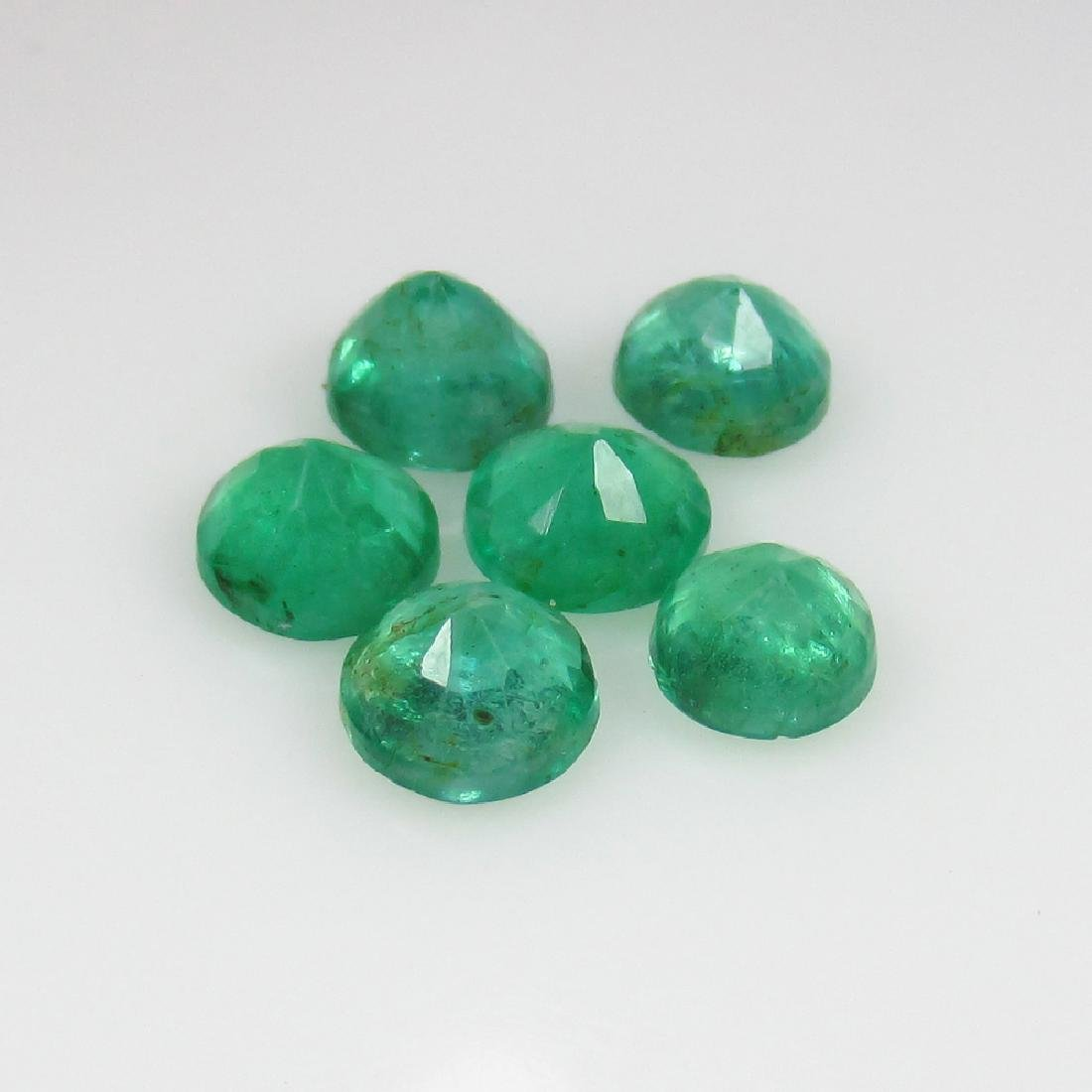 2.28 Ct Genuine 6 Loose Zambian Emerald Round Lot - 2