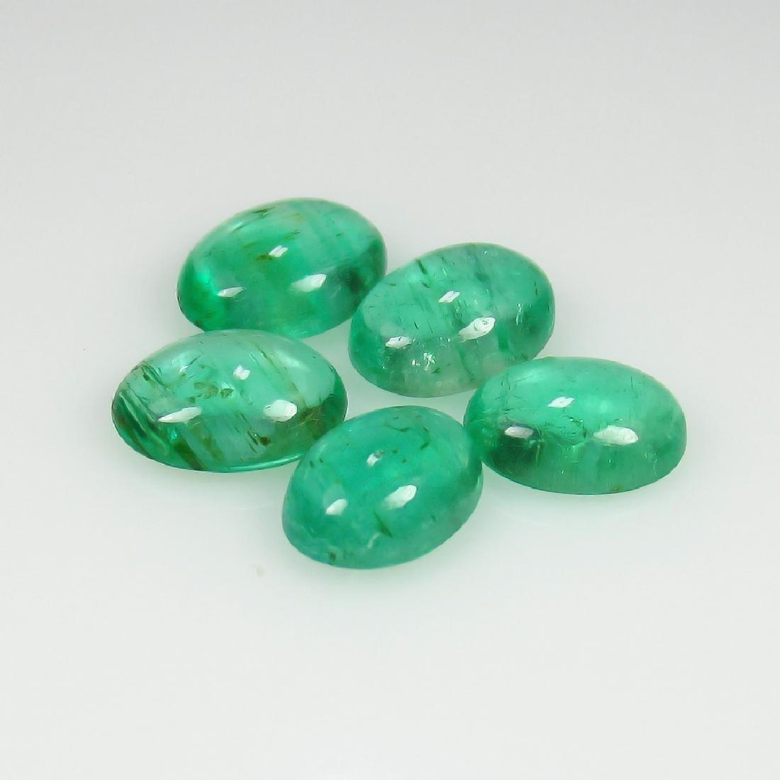 3.76 Ct Genuine Zambian Emerald Matching Oval Cabochon