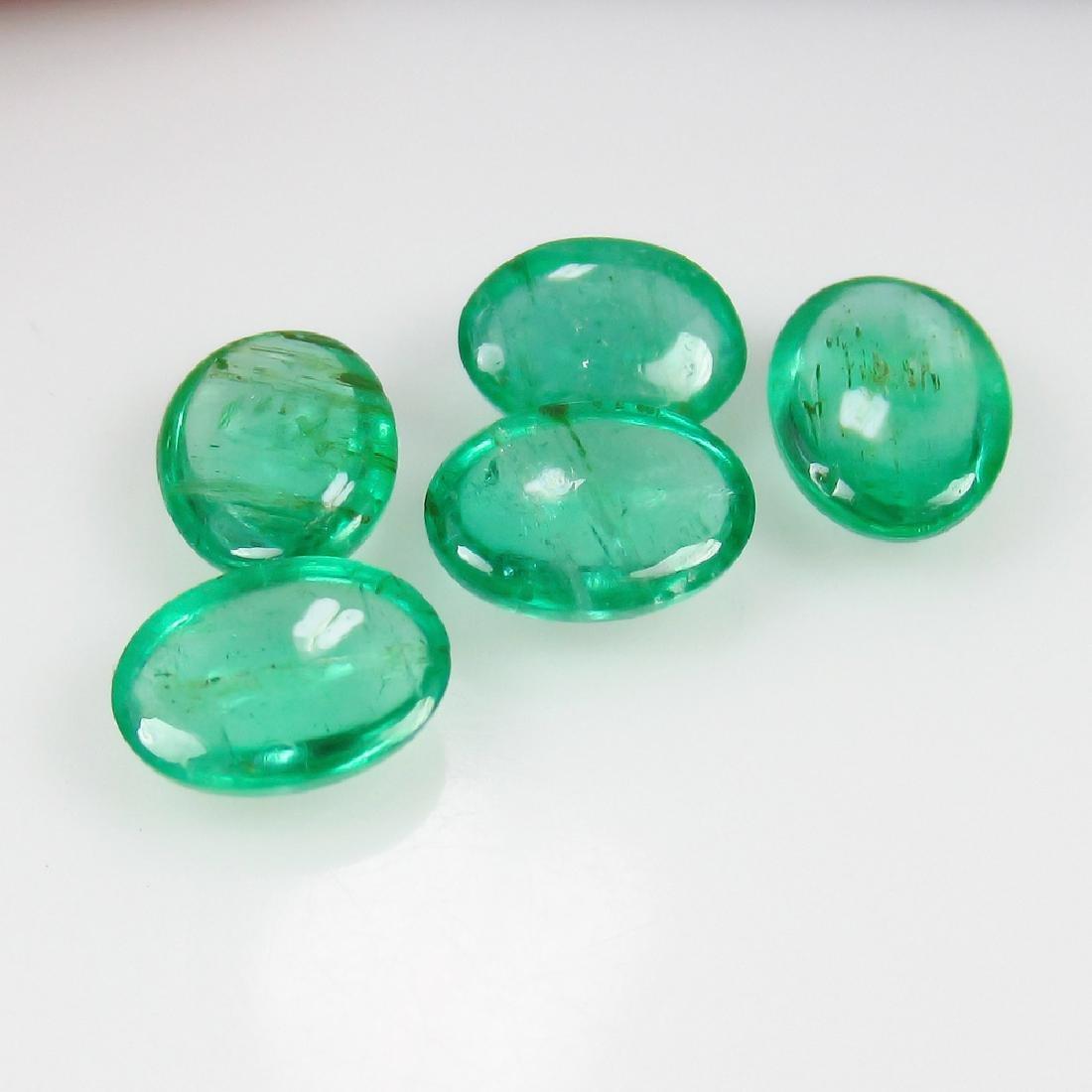 3.76 Ct Genuine Zambian Emerald Matching Oval Cabochon - 2