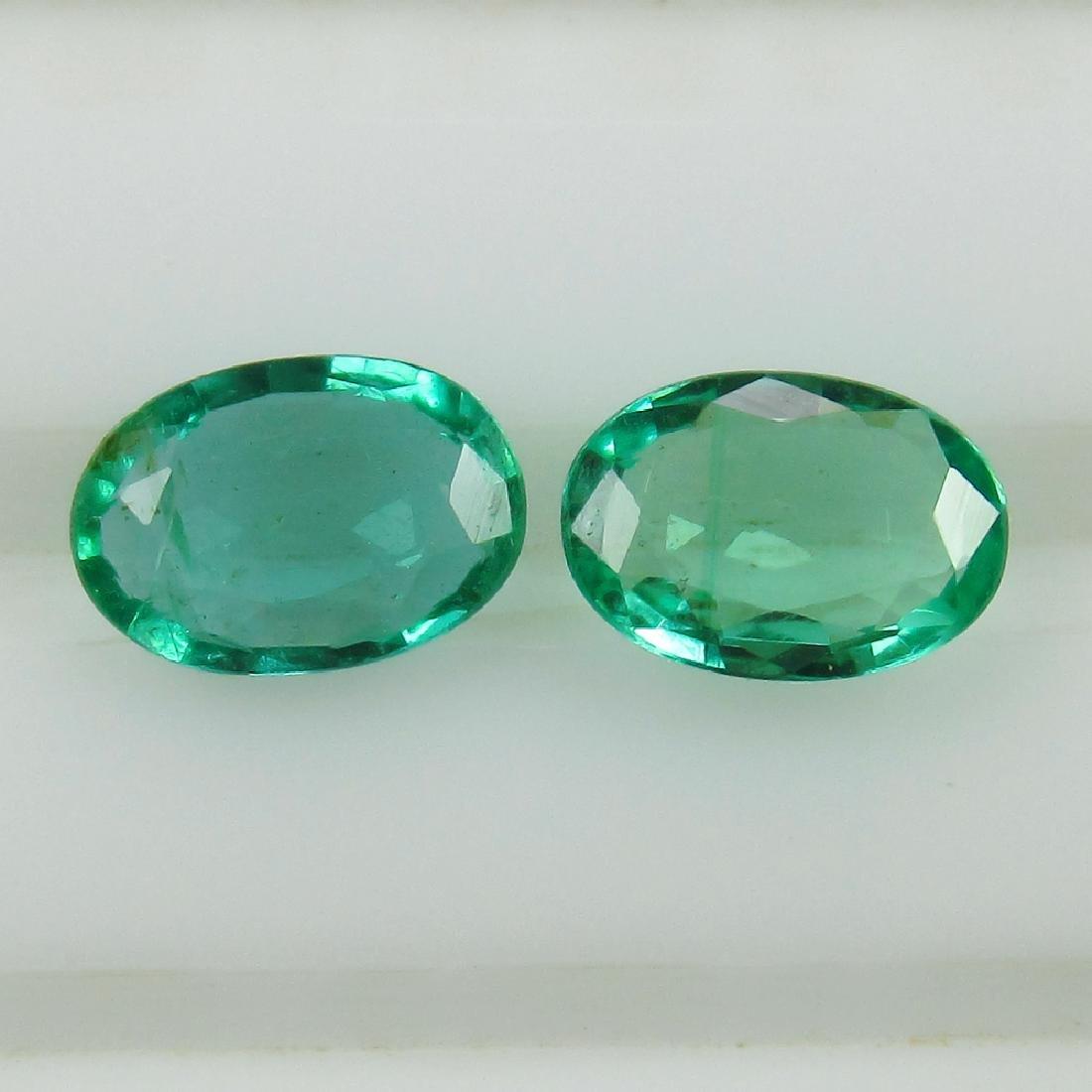 0.72 Ct Genuine Zambian Emerald Matching Oval Pair