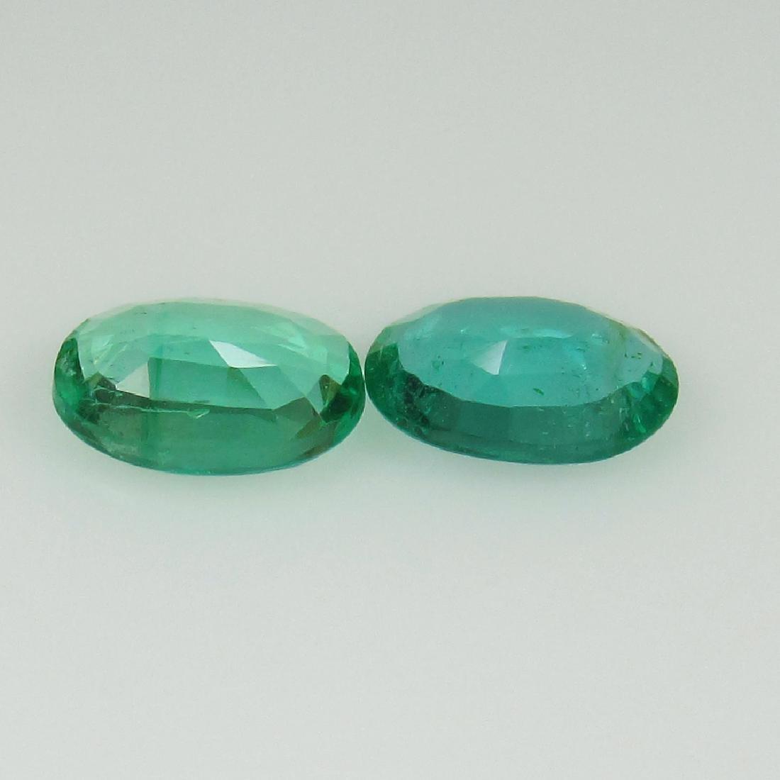 0.72 Ct Genuine Zambian Emerald Matching Oval Pair - 2