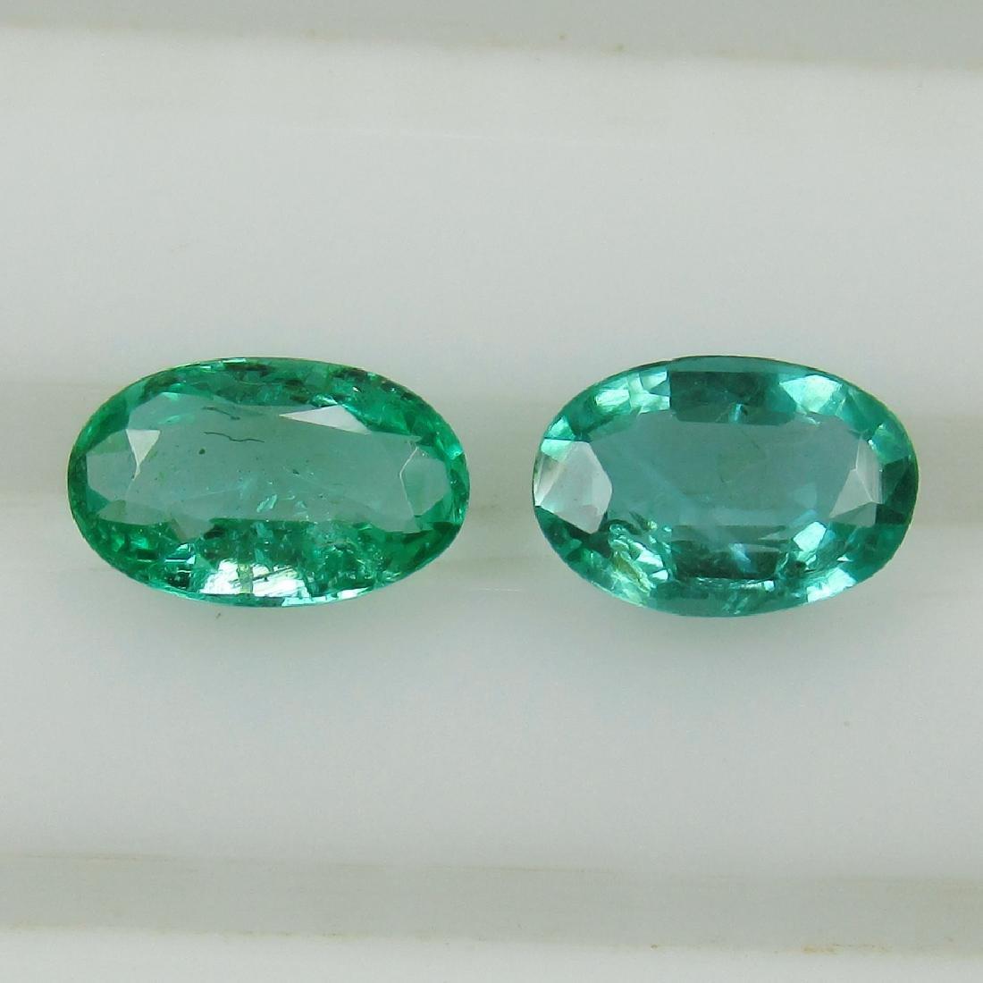 0.72 Ct Genuine Zambian Emerald 6X4 mm Matching Oval