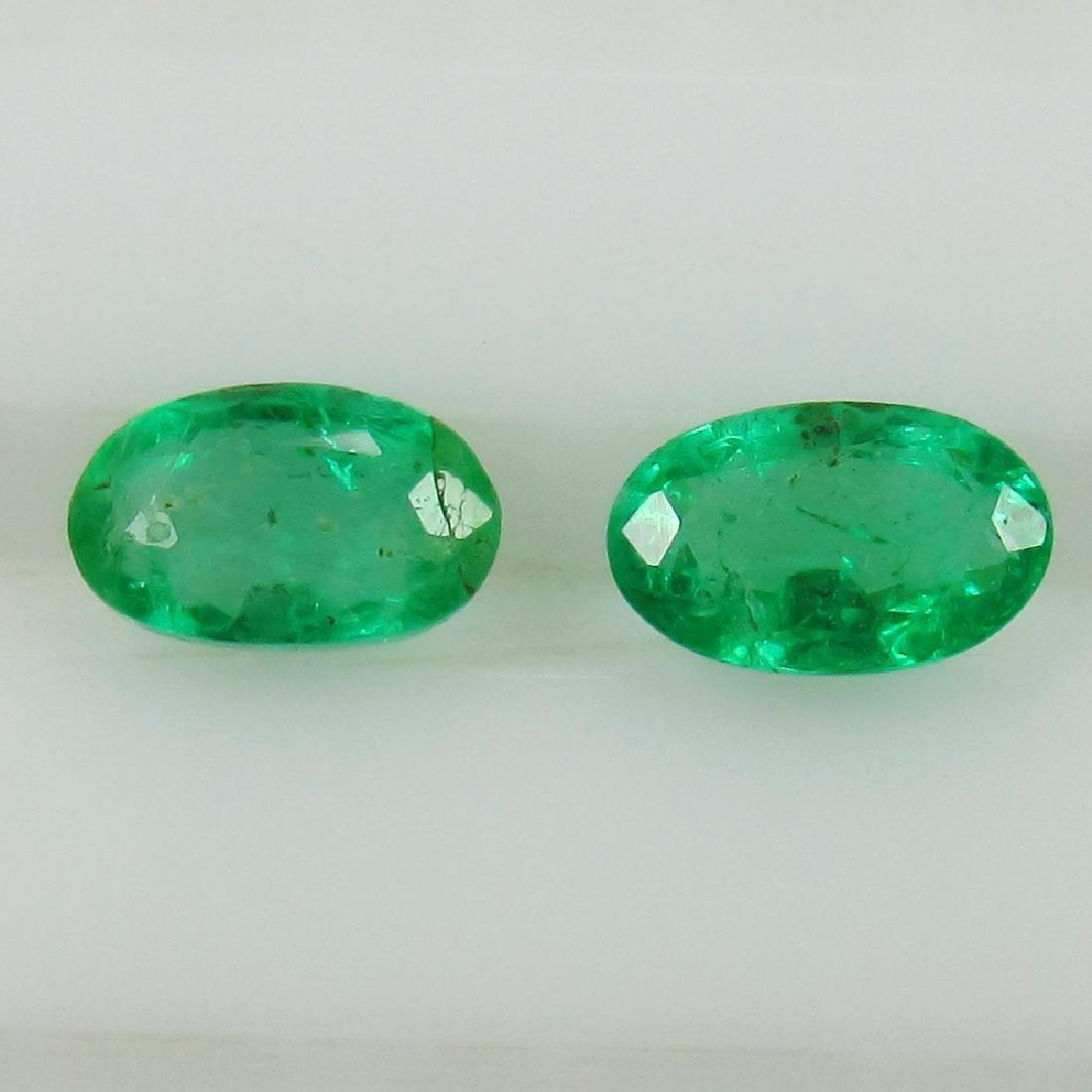 0.54 Ct Genuine Zambian Emerald Matching Oval Pair