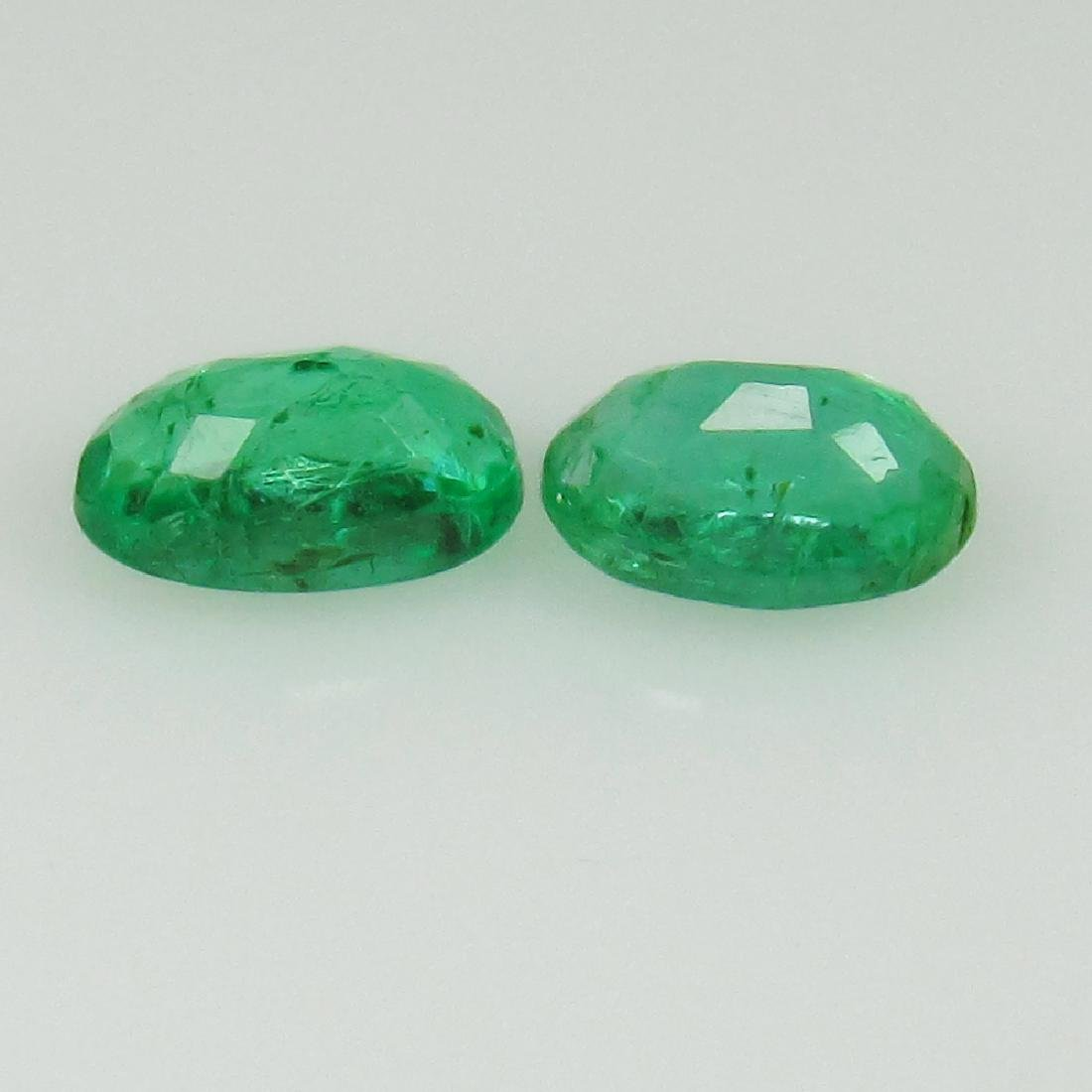 0.54 Ct Genuine Zambian Emerald Matching Oval Pair - 2