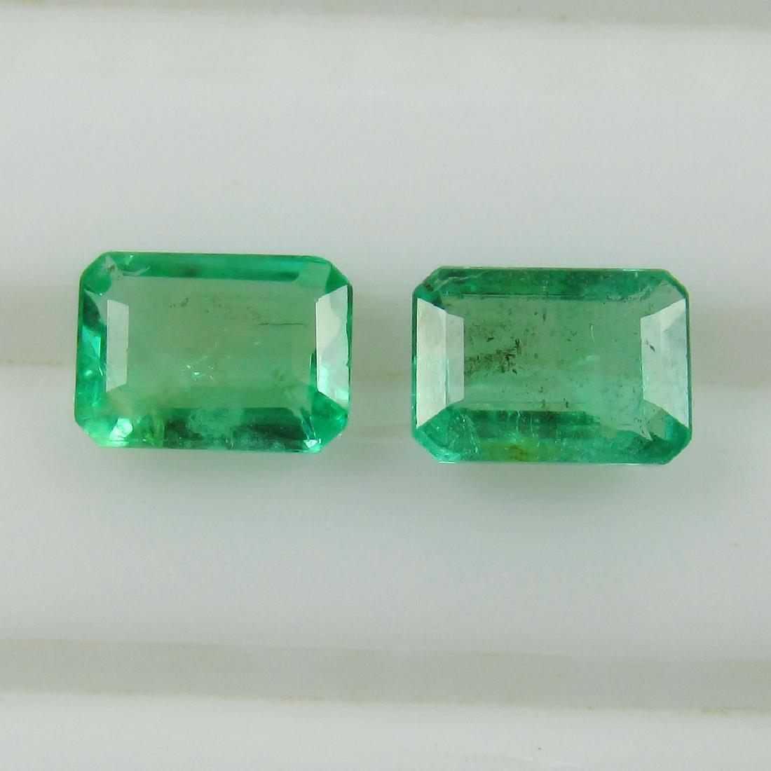0.87 Ct Genuine Zambian Emerald Matching Octagon Pair