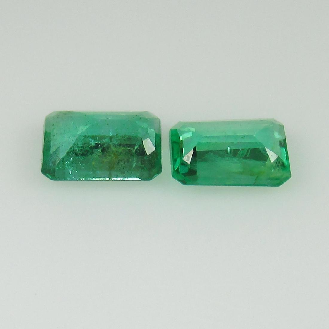 0.87 Ct Genuine Zambian Emerald Matching Octagon Pair - 2