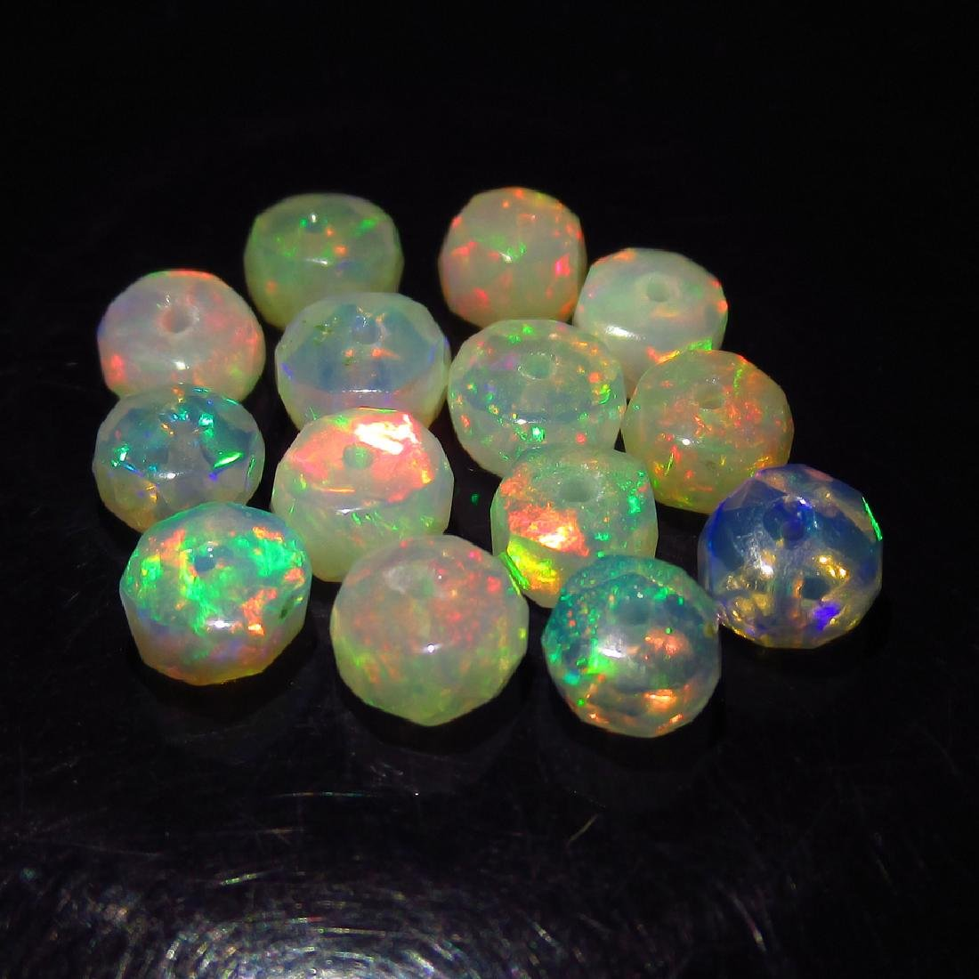 6.42 Ct Genuine 15 Loose Drilled Round Multi-Color Fire - 3