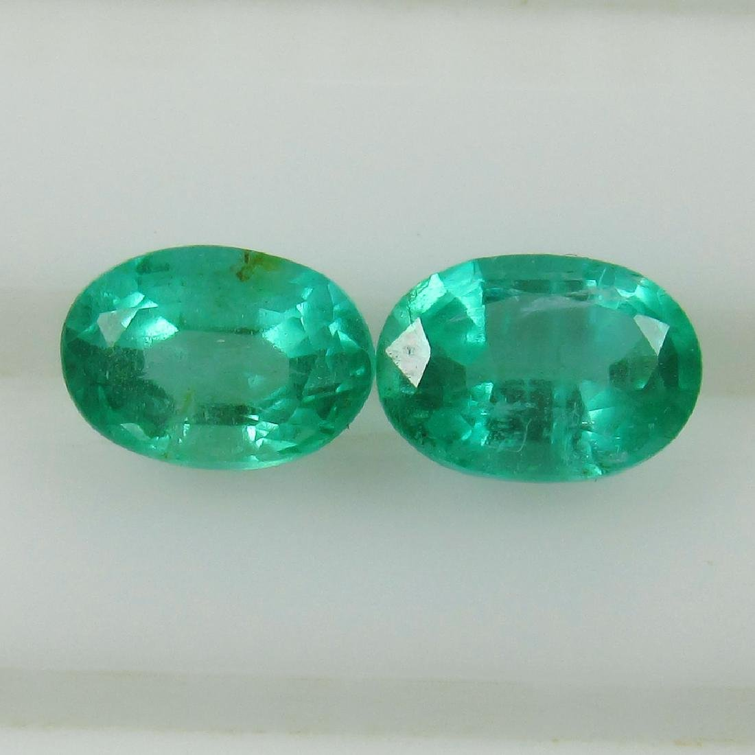 0.97 Ct Genuine Zambian Emerald Matching Oval Pair