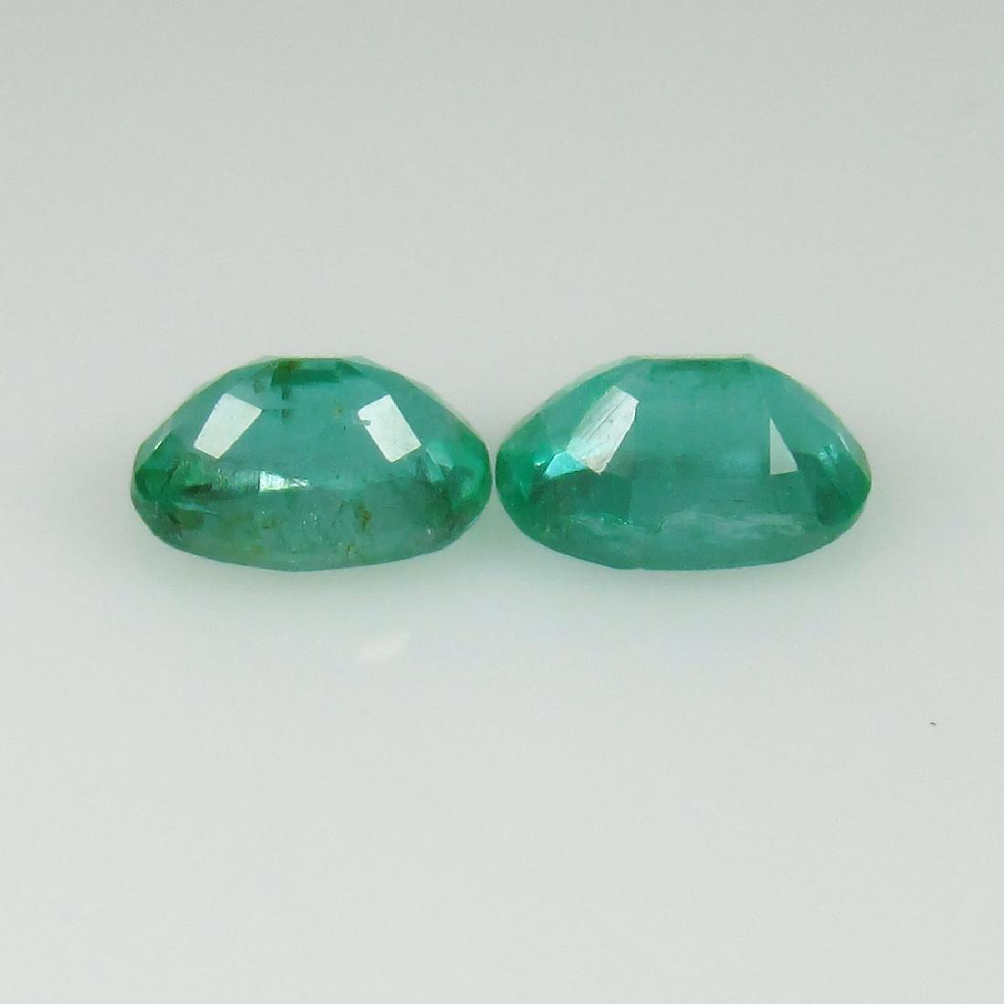 0.97 Ct Genuine Zambian Emerald Matching Oval Pair - 2