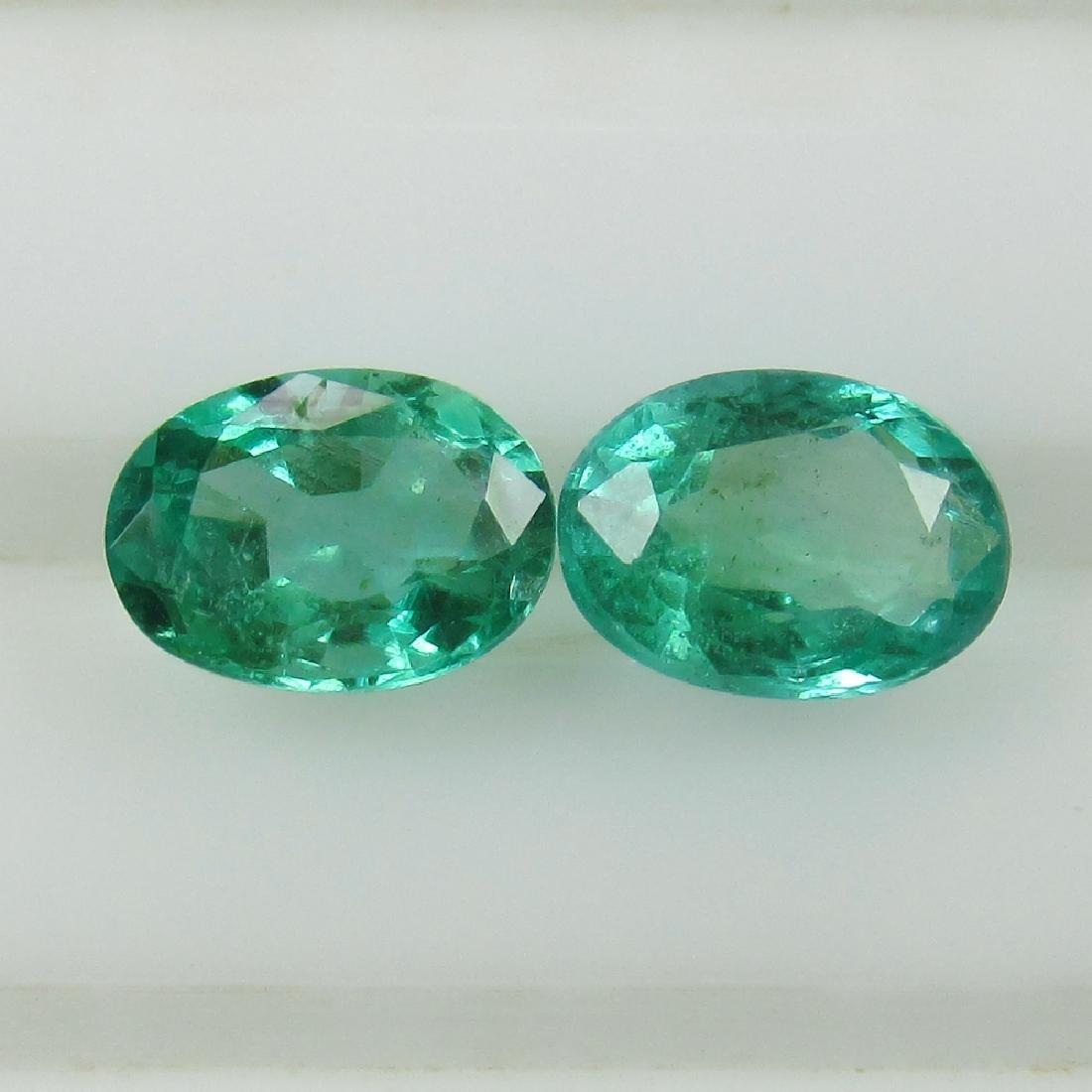 0.88 Ct Genuine Zambian Emerald Matching Oval Pair