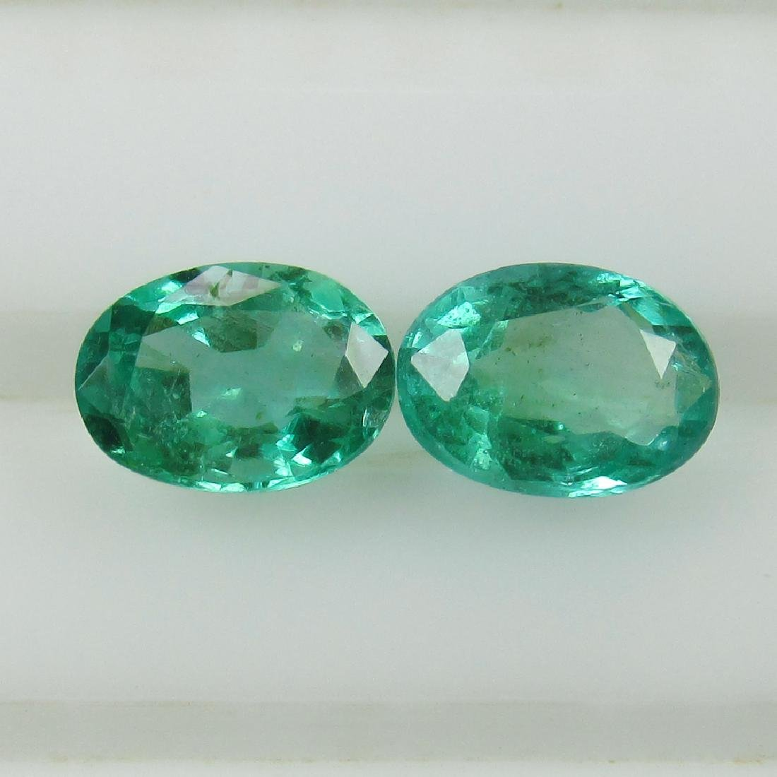 0.88 Ct Genuine Zambian Emerald Matching Oval Pair