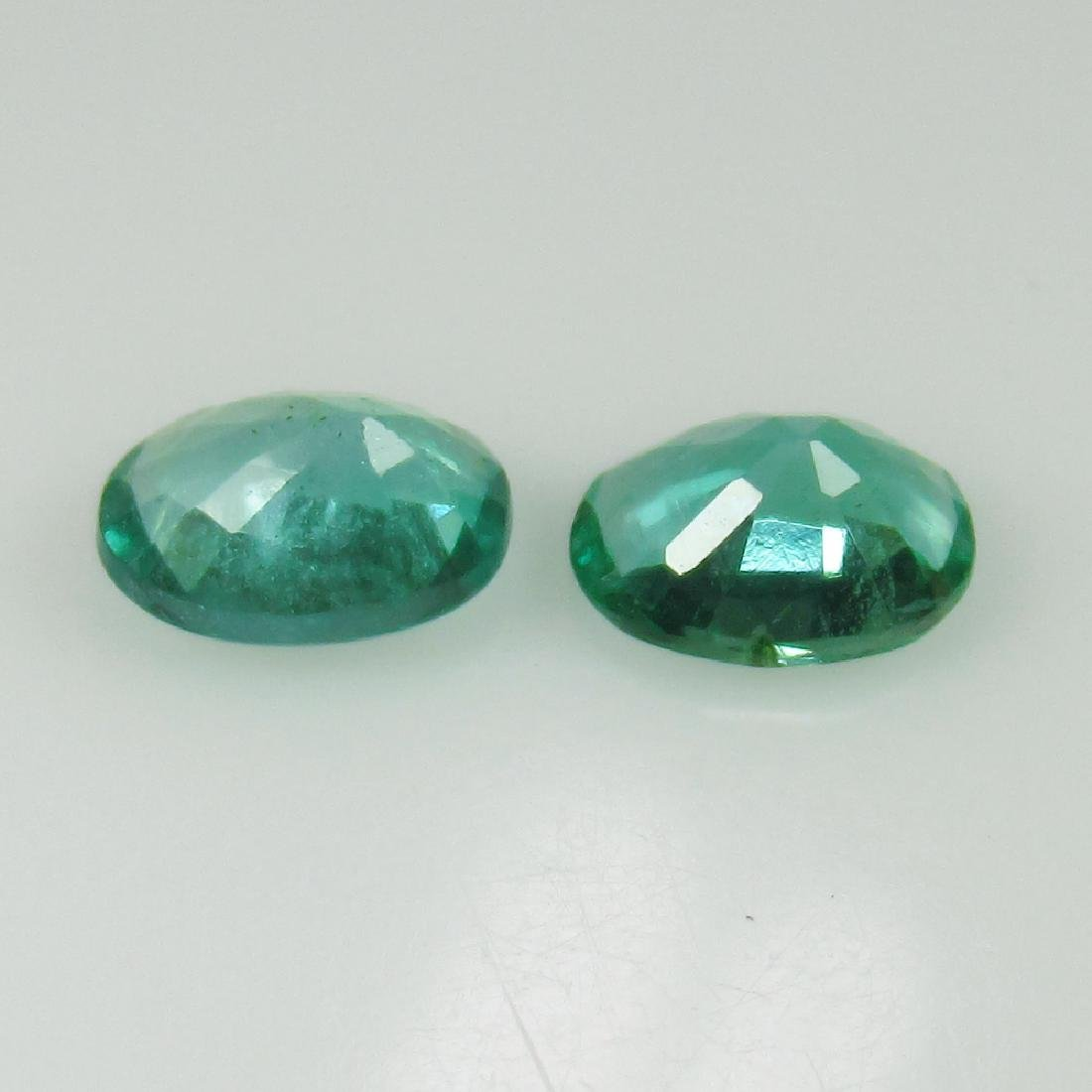0.88 Ct Genuine Zambian Emerald Matching Oval Pair - 2