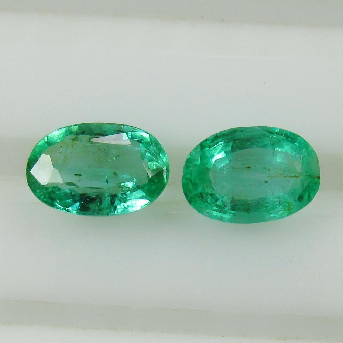 0.97 Ct Genuine Zambian Emerald Oval Pair