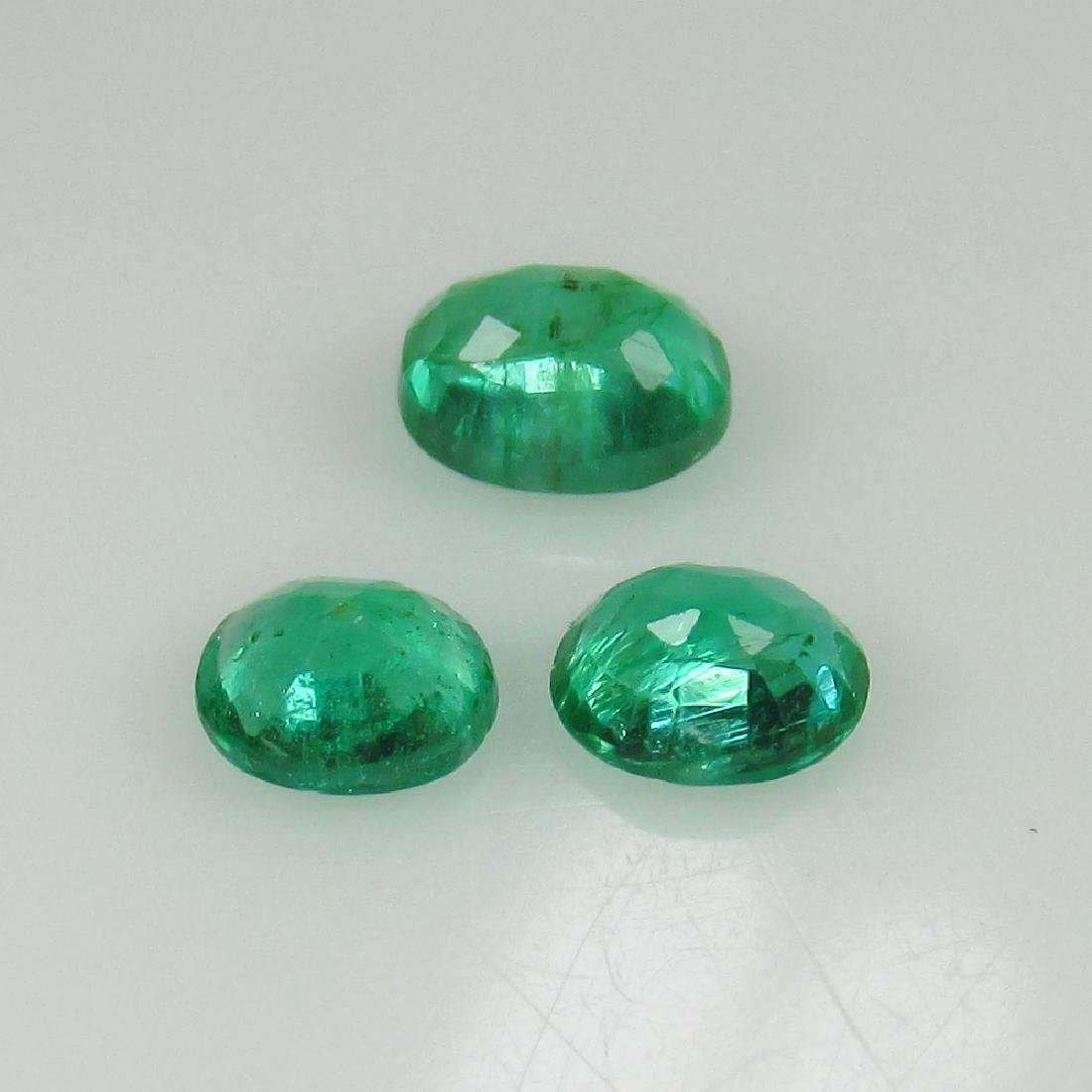 0.68 Ct Genuine Zambian Emerald Matching Oval Set - 2