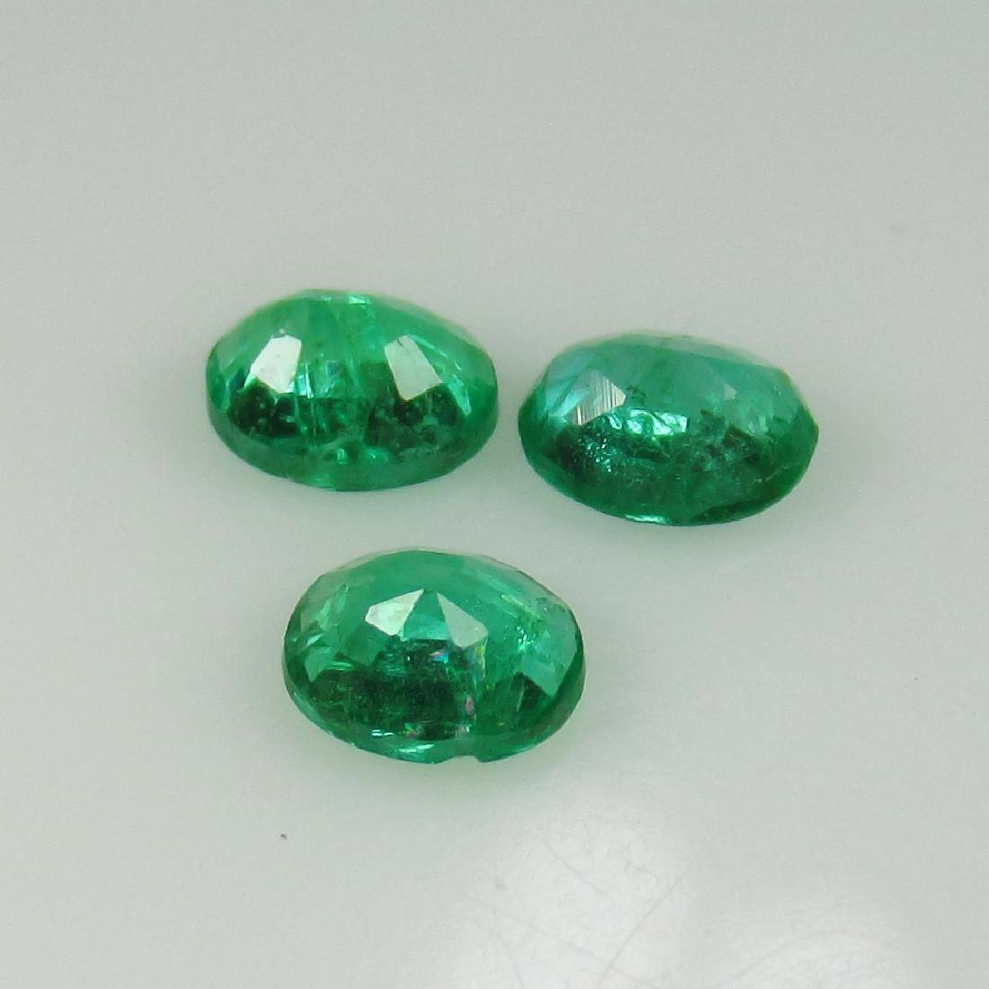 0.70 Ct Genuine Zambian Emerald Matching Oval Set - 2