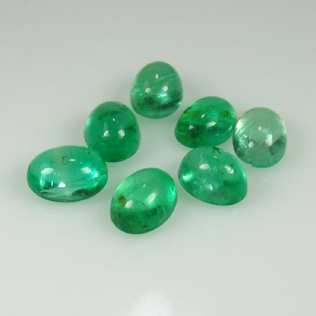 5.38 Ct Genuine Zambian Emerald Matching Oval Cabochon