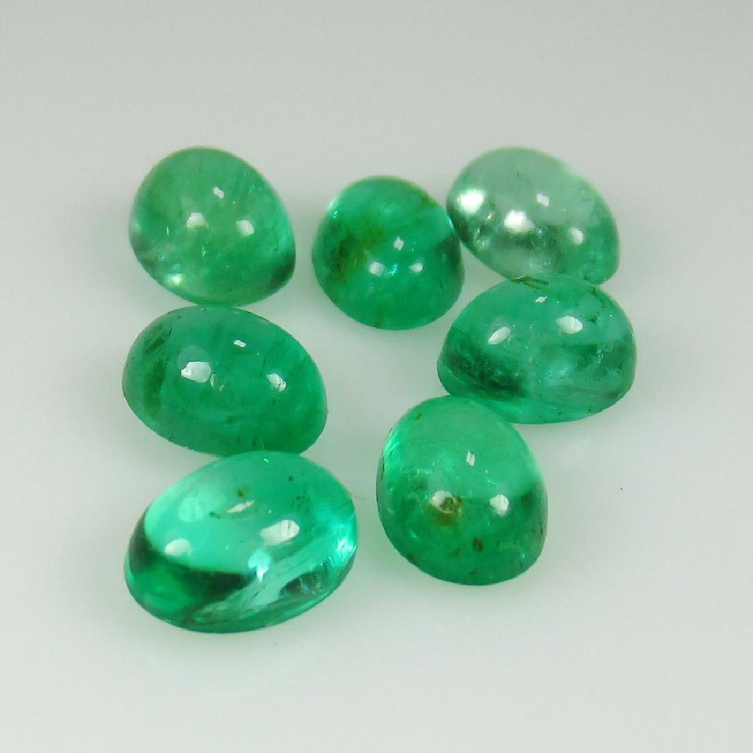 5.38 Ct Genuine Zambian Emerald Matching Oval Cabochon - 2