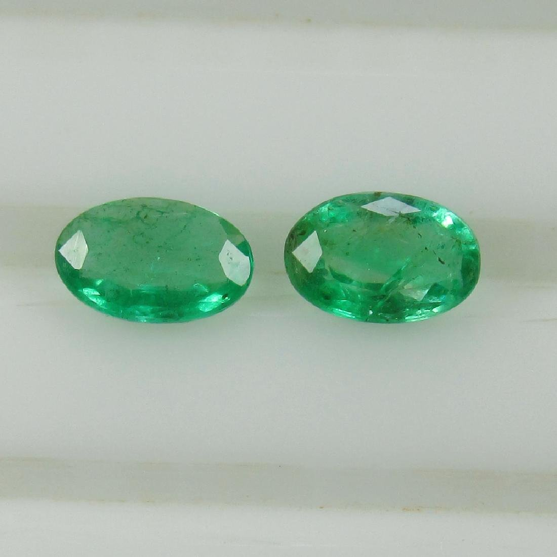 0.59 Ct Genuine Zambian Emerald Oval Pair