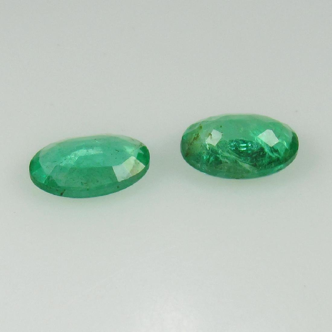 0.59 Ct Genuine Zambian Emerald Oval Pair - 2