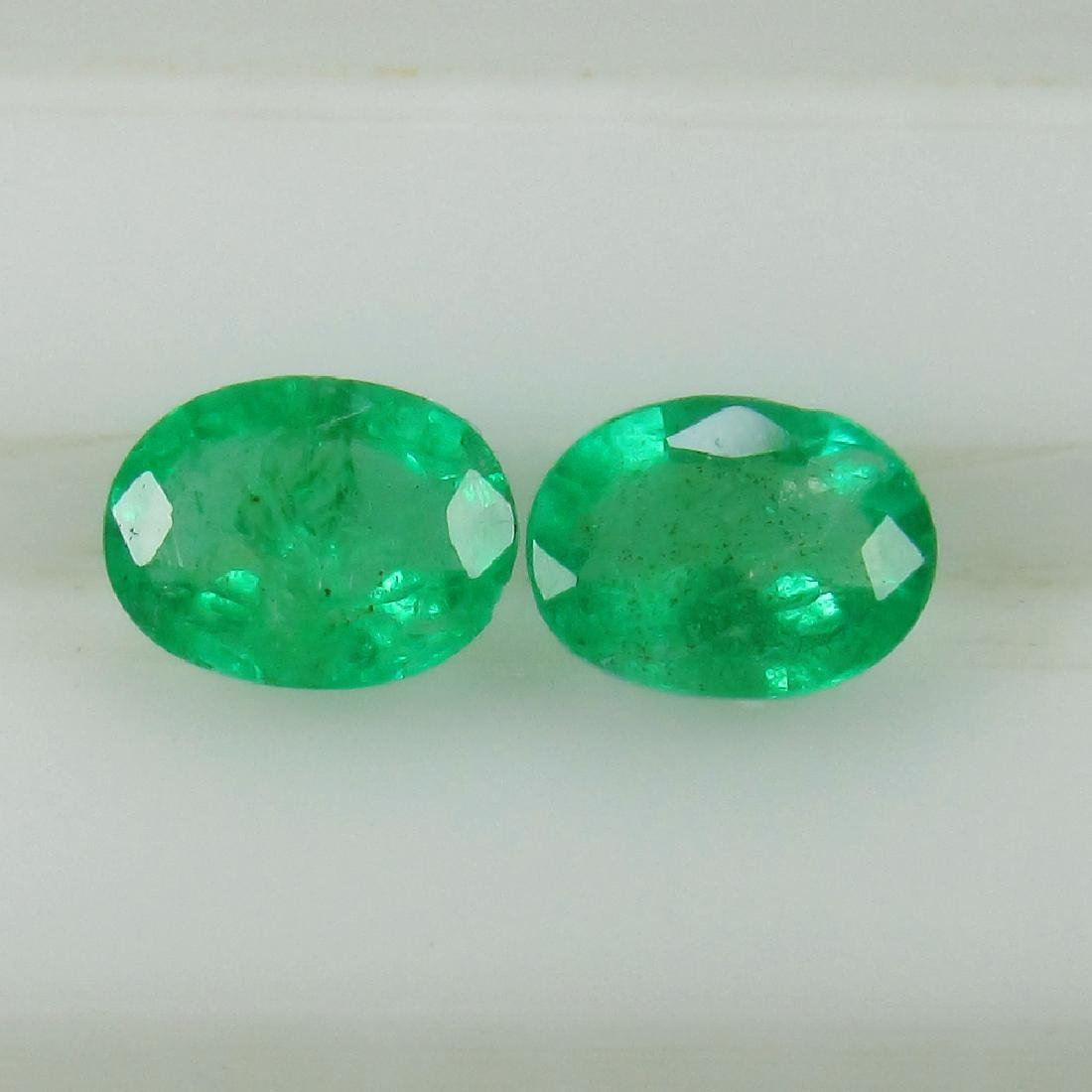 0.62 Ct Genuine Zambian Emerald Oval Pair
