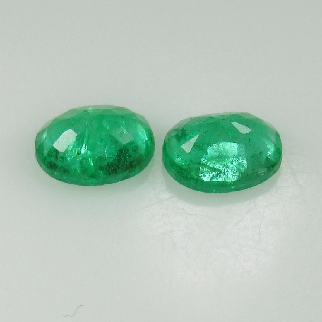 0.62 Ct Genuine Zambian Emerald Oval Pair - 2